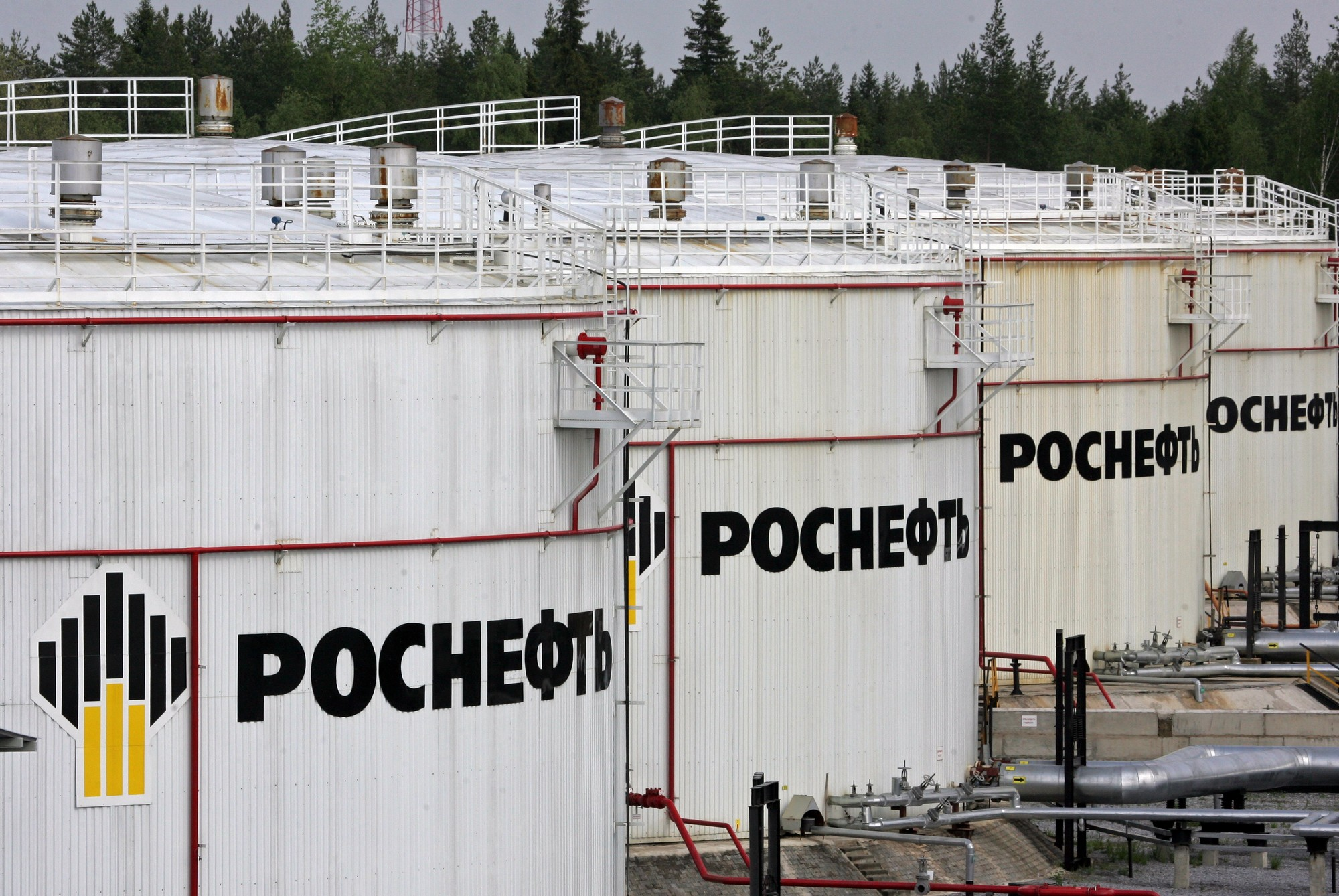 File picture shows Rosneft oil storage tanks at the oil-loading terminal in Privodino