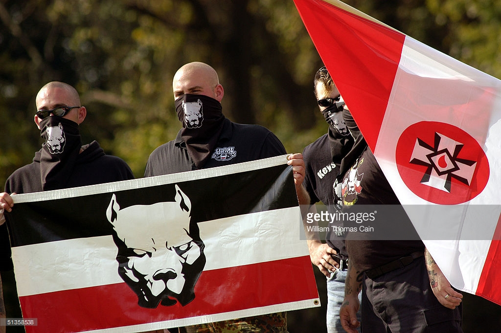 VALLEY FORGE, PA - SEPTEMBER 25: American Nazi party members participate in an American Nazi Party rally at Valley Forge National Park September 25, 2004 in Valley Forge, Pennsylvania. Hundreds of American Nazis from around the country were expected to attend. (Photo by William Thomas Cain/Getty Images)