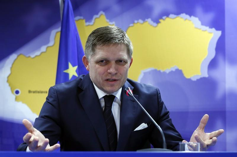 Slovakia's Prime Minister Robert Fico speaks at a news conference at the end of a European leaders emergency summit on Ukraine, in Brussels March 6, 2014. REUTERS/Yves Herman